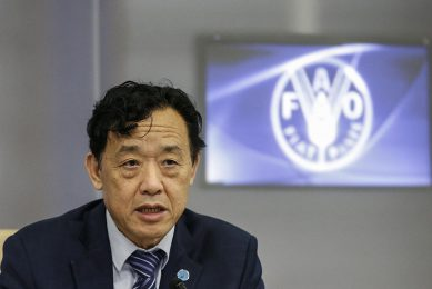 epa08028546 Qu Dongyu, director general Food and Agriculture Organization (FAO), during the 'Being and well being' - traditional healthy diets from the Mediterranean and beyond, meeting at the FAO headquarter in Rome, Italy, 27 November 2019.  EPA/FABIO FRUSTACI
