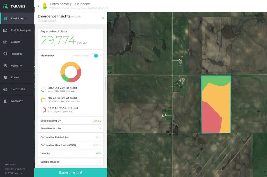 A Taranis AI2 image showing crop identification and count done by deep learning-based software