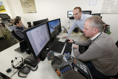 Manufactureres are working hard to develop smart TIM applications. Here (from left to right) Roger Custers, Hans Stols and Lars Schmitz at the Agco site in The Netherlands working on TIM for sprayers.