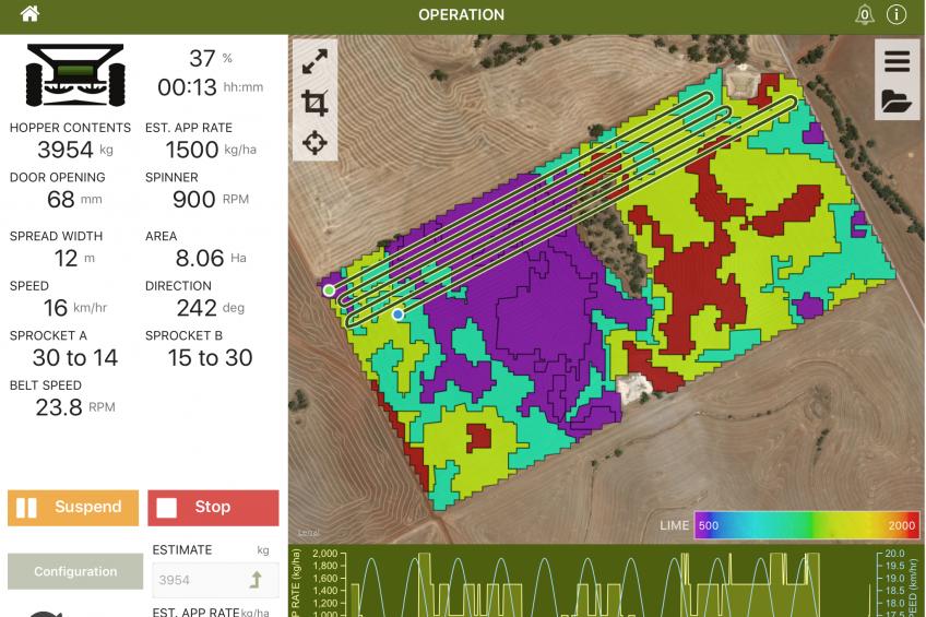 Fertiliser app controls spreader settings by phone