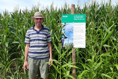 Signs inform public about drone crop protection