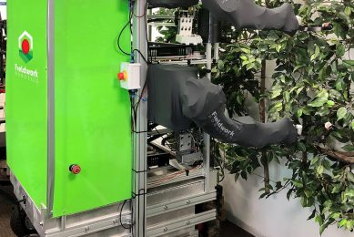 The prototype Fieldwork Robotics raspberry harvester must overcome significant challenges. Photo Credit: Fieldwork Robotics/University of Plymouth