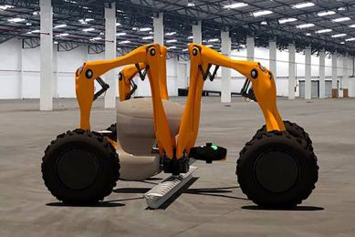 Harry is a 1.8 metre-square spider-shaped robot, that folds up compactly and unfurls to provide farmers with a driverless, super accurate drill.