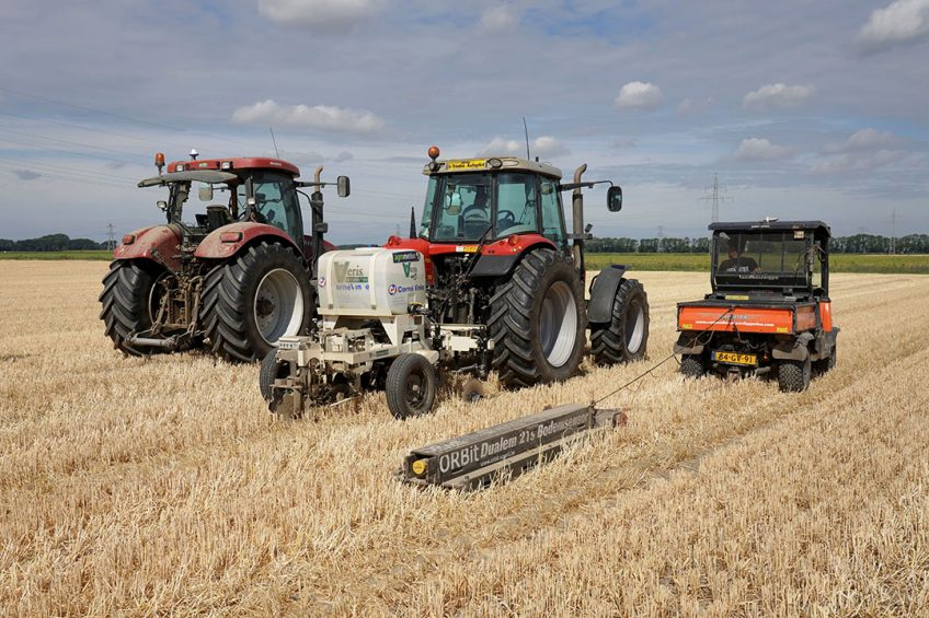 3 of the 5 scanners that were compared last year on a plot of summer barley in the Dutch village of Ens.