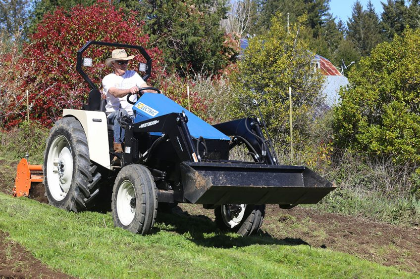 The eFarmer is a bespoke space frame toolcarrier with rear, mid and front three-point implement mountings intended primarily for work such as hoeing and seeding in horticultural crops.