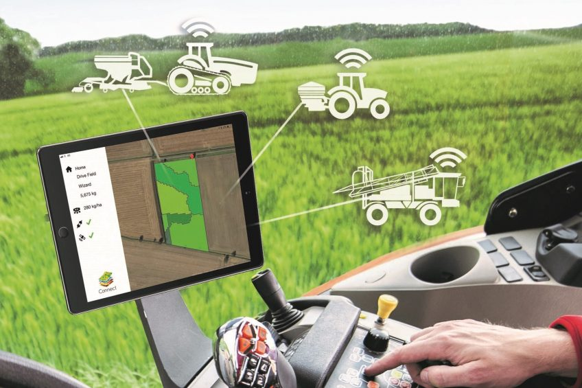 The Connect app is run on an iPad tablet computer to transfer prescription maps data wirelessly to implement controllers for spraying, spreading and sowing.