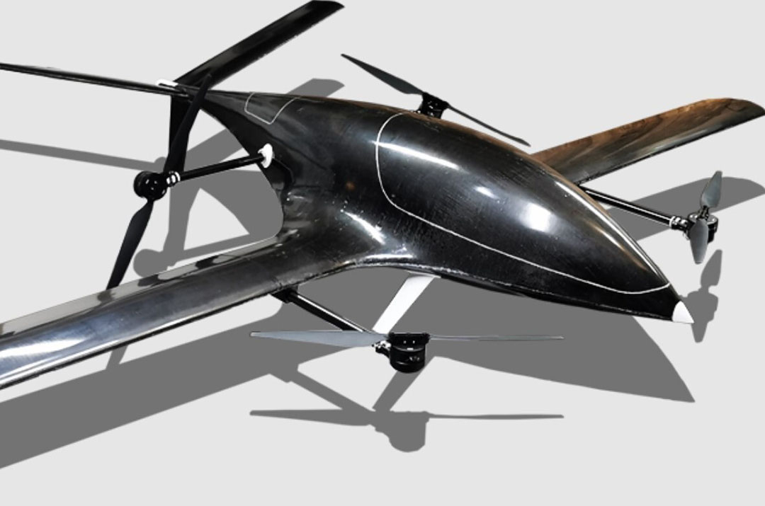 Designed and built in Canada by Forward Robotics the U7AG has 2.5 m wingspan and four rotors providing propulsion and VTOL. It's designed for large-area applications with autonomous operation. - Photo: Forward Robotics