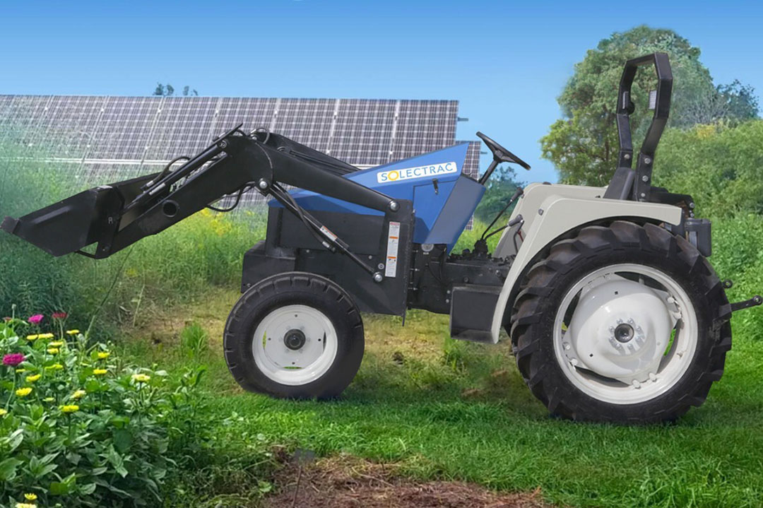 Solectrac builds electric tractors. A 40 HP-equivalent eUtility tractor and the 4-wheel drive 30 HP-equivalent compact electric tractor (CET). Both tractors are built to outperform their diesel counterparts by eliminating exhaust and noise and with the benefit of instant torque at low RPM. Solectrac tractors accommodate existing implements. - Photo: Solectrac
