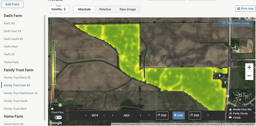 If a farmer creates a field boundary, he can then access field-level soil maps, terrain maps, weather data, and satellite imagery/crop health monitoring. - Image: Farmers Business Network