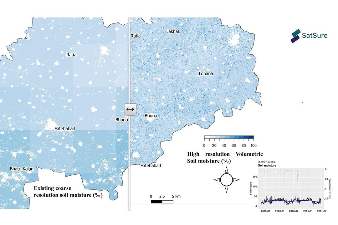 Farm-level soil moisture derived using satellites.  - Source: SatSure