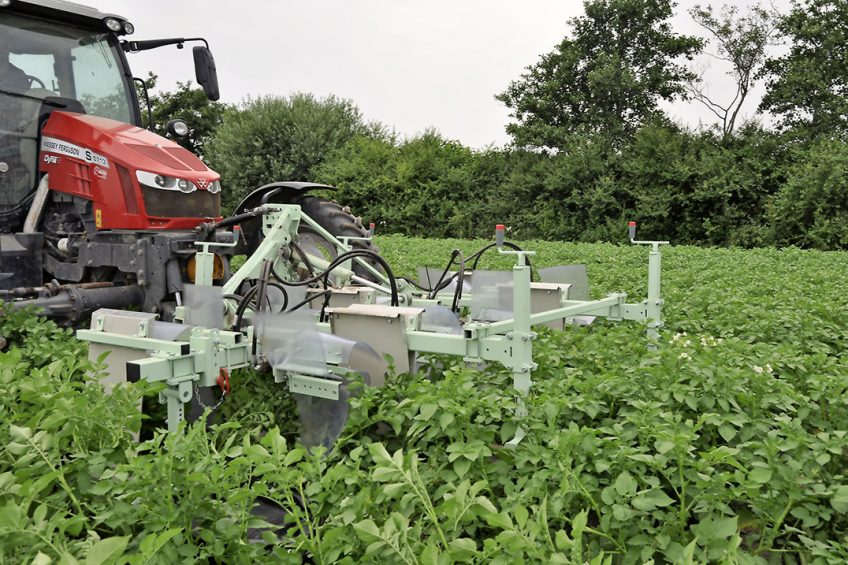 The first prototype in the front linkage. The best results seem to be achieved when the haulm is well connected within the rows, but still somewhat open between the rows. - Photo: Joris van der Kamp