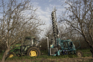 Once in the orchard, pollen is blown onto trees using the company's 2B mechanical pollinator unit. LIDAR sensors are used to apply the pollen from the most effective distance to each part of the tree. Photo: Dudi Ardon
